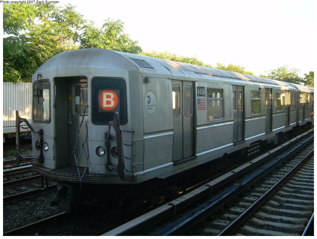 (212k, 1044x788)<br><b>Country:</b> United States<br><b>City:</b> New York<br><b>System:</b> New York City Transit<br><b>Line:</b> BMT Brighton Line<br><b>Location:</b> Neck Road<br><b>Route:</b> B<br><b>Car:</b> R-40M (St. Louis, 1969) 4459 <br><b>Photo by:</b> Zach Summer<br><b>Date:</b> 8/12/2007<br><b>Notes:</b> Layup train at Neck Rd.<br><b>Viewed (this week/total):</b> 3 / 2368