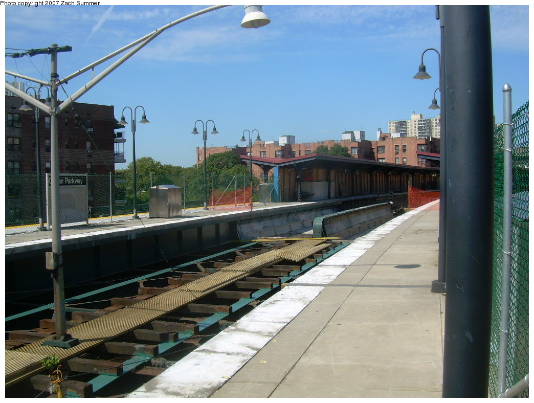 (213k, 1044x788)<br><b>Country:</b> United States<br><b>City:</b> New York<br><b>System:</b> New York City Transit<br><b>Line:</b> BMT Brighton Line<br><b>Location:</b> Ocean Parkway<br><b>Photo by:</b> Zach Summer<br><b>Date:</b> 8/12/2007<br><b>Notes:</b> Track reconstruction.<br><b>Viewed (this week/total):</b> 4 / 1399
