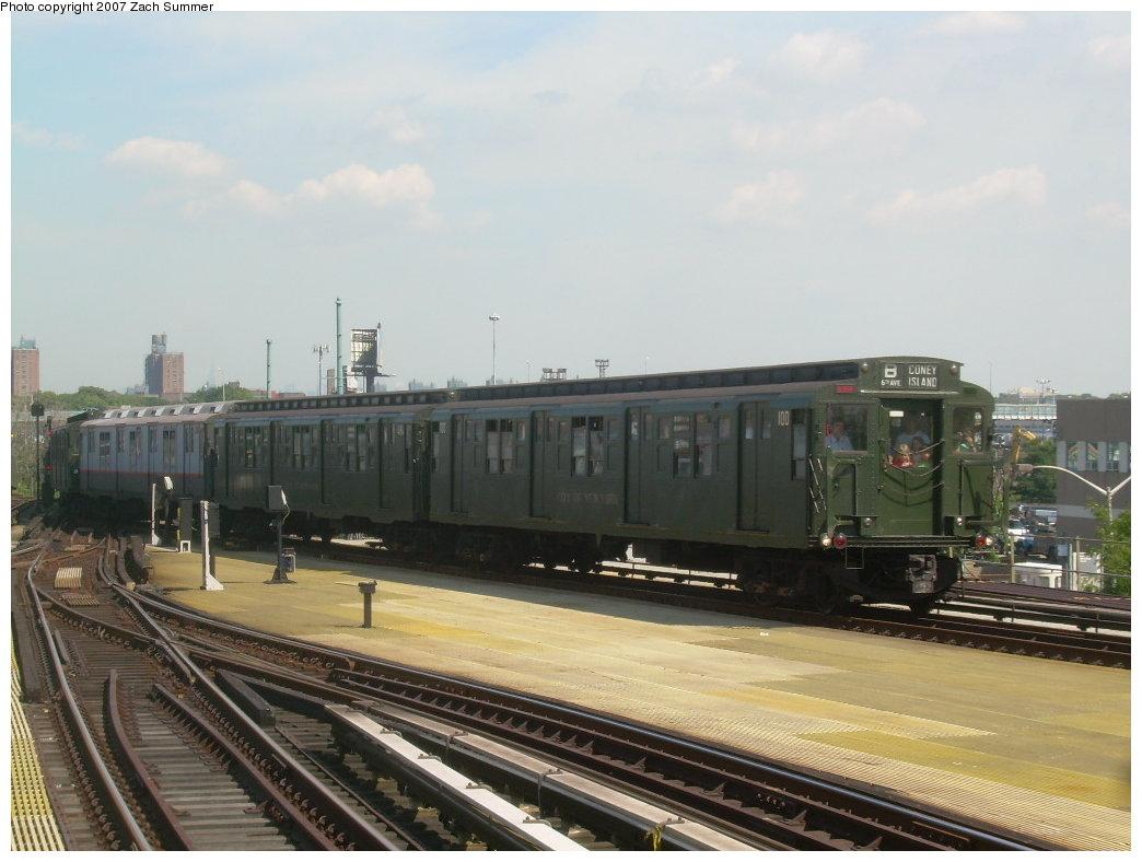 (176k, 1044x788)<br><b>Country:</b> United States<br><b>City:</b> New York<br><b>System:</b> New York City Transit<br><b>Location:</b> Coney Island/Stillwell Avenue<br><b>Route:</b> Fan Trip<br><b>Car:</b> R-1 (American Car & Foundry, 1930-1931) 100 <br><b>Photo by:</b> Zach Summer<br><b>Date:</b> 8/12/2007<br><b>Viewed (this week/total):</b> 4 / 2055