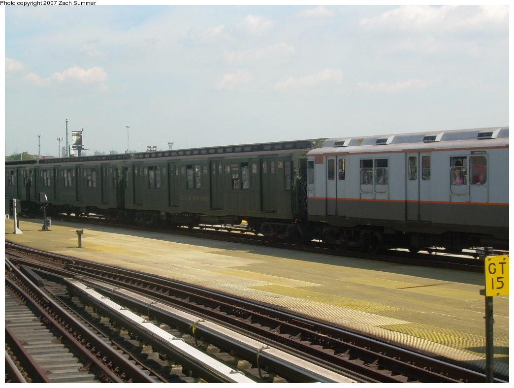 (180k, 1044x788)<br><b>Country:</b> United States<br><b>City:</b> New York<br><b>System:</b> New York City Transit<br><b>Location:</b> Coney Island/Stillwell Avenue<br><b>Route:</b> Fan Trip<br><b>Car:</b> R-1 (American Car & Foundry, 1930-1931) 381 <br><b>Photo by:</b> Zach Summer<br><b>Date:</b> 8/12/2007<br><b>Viewed (this week/total):</b> 4 / 1950