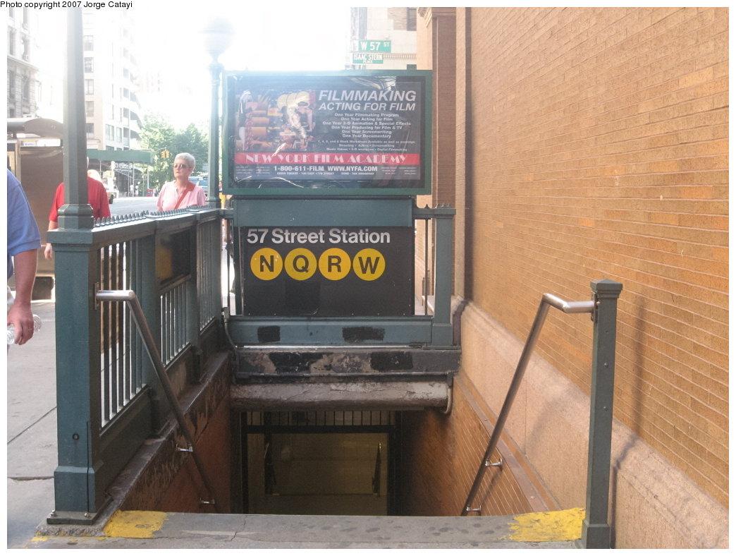 (169k, 1044x788)<br><b>Country:</b> United States<br><b>City:</b> New York<br><b>System:</b> New York City Transit<br><b>Line:</b> BMT Broadway Line<br><b>Location:</b> 57th Street<br><b>Photo by:</b> Jorge Catayi<br><b>Date:</b> 8/12/2007<br><b>Notes:</b> Station entrance.<br><b>Viewed (this week/total):</b> 2 / 3759