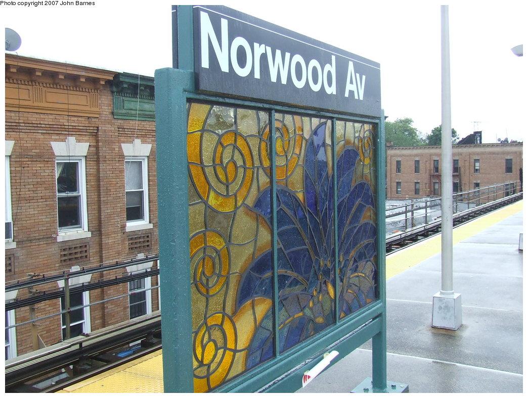 (218k, 1044x788)<br><b>Country:</b> United States<br><b>City:</b> New York<br><b>System:</b> New York City Transit<br><b>Line:</b> BMT Nassau Street-Jamaica Line<br><b>Location:</b> Norwood Avenue<br><b>Photo by:</b> John Barnes<br><b>Date:</b> 8/21/2007<br><b>Artwork:</b> <i>Culture Swirl</i>, Margaret Lanzetta, 2007<br><b>Viewed (this week/total):</b> 3 / 1771