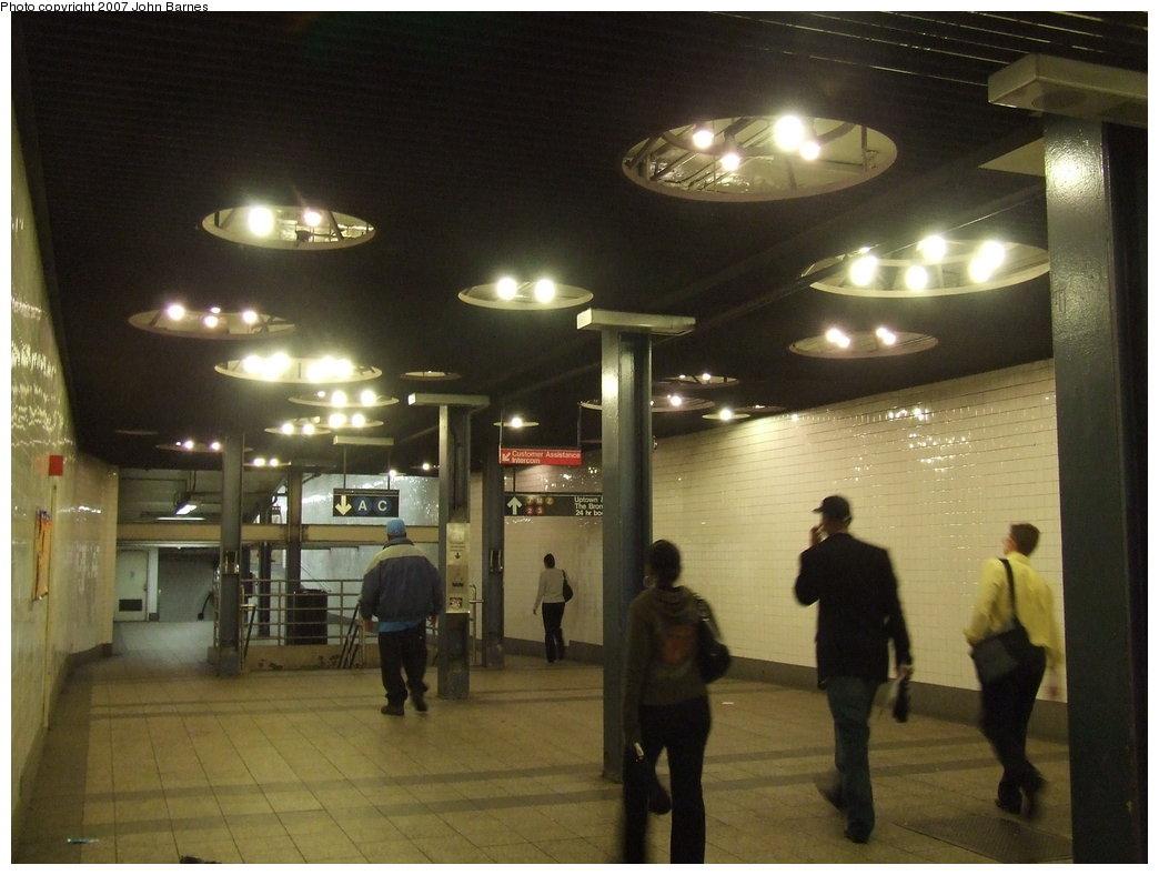 (148k, 1044x788)<br><b>Country:</b> United States<br><b>City:</b> New York<br><b>System:</b> New York City Transit<br><b>Line:</b> IND 8th Avenue Line<br><b>Location:</b> Fulton Street (Broadway/Nassau)<br><b>Photo by:</b> John Barnes<br><b>Date:</b> 8/21/2007<br><b>Artwork:</b> <i>Astral Grating</i>, Nancy Holt, 1987<br><b>Viewed (this week/total):</b> 5 / 4754