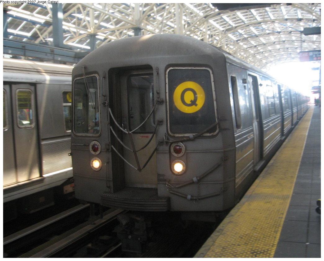 (160k, 1044x840)<br><b>Country:</b> United States<br><b>City:</b> New York<br><b>System:</b> New York City Transit<br><b>Location:</b> Coney Island/Stillwell Avenue<br><b>Route:</b> Q<br><b>Car:</b> R-68A (Kawasaki, 1988-1989)  <br><b>Photo by:</b> Jorge Catayi<br><b>Date:</b> 8/12/2007<br><b>Viewed (this week/total):</b> 0 / 2061
