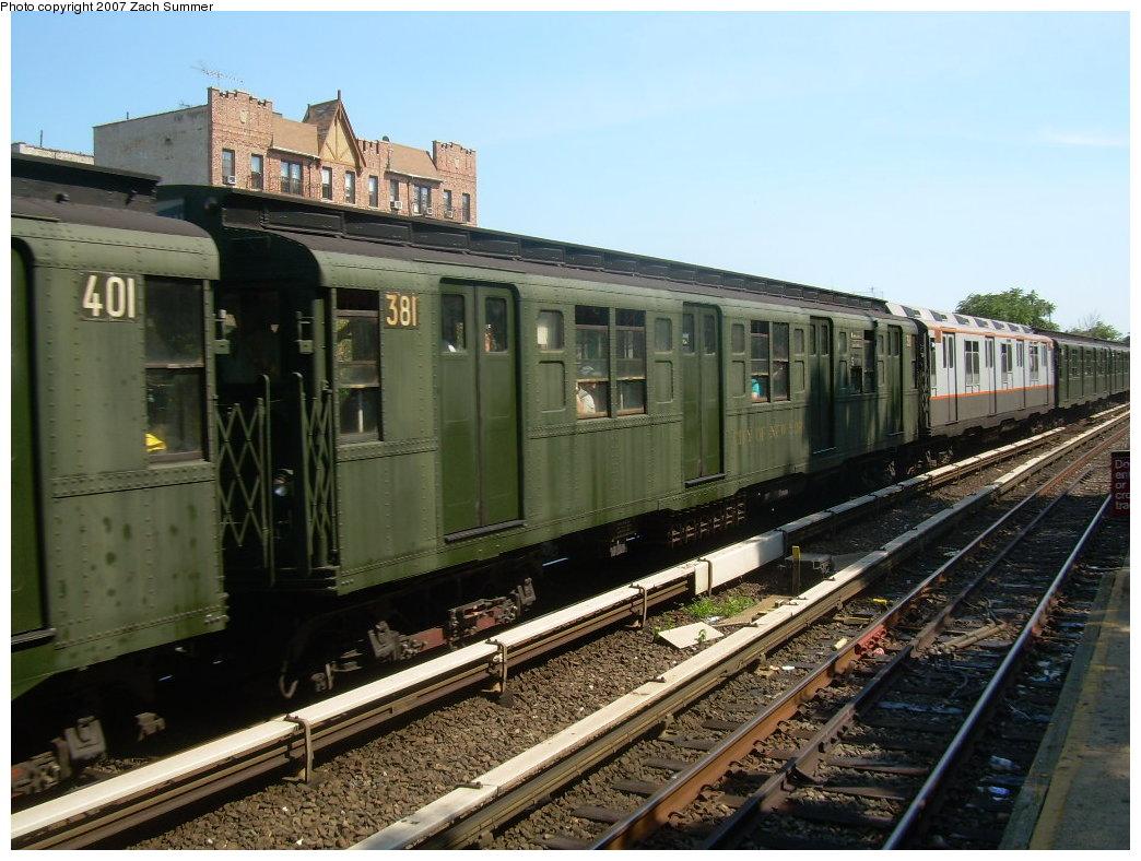 (221k, 1044x788)<br><b>Country:</b> United States<br><b>City:</b> New York<br><b>System:</b> New York City Transit<br><b>Line:</b> BMT Brighton Line<br><b>Location:</b> Kings Highway<br><b>Route:</b> Fan Trip<br><b>Car:</b> R-1 (American Car & Foundry, 1930-1931) 381 <br><b>Photo by:</b> Zach Summer<br><b>Date:</b> 8/12/2007<br><b>Viewed (this week/total):</b> 2 / 1984
