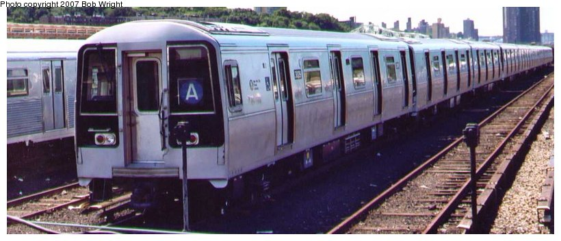 (71k, 820x352)<br><b>Country:</b> United States<br><b>City:</b> New York<br><b>System:</b> New York City Transit<br><b>Location:</b> 207th Street Yard<br><b>Car:</b> R-110B (Bombardier, 1992) 3009 <br><b>Photo by:</b> Bob Wright<br><b>Date:</b> 8/24/2003<br><b>Viewed (this week/total):</b> 3 / 5001