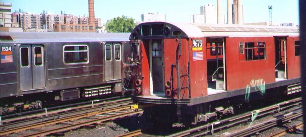 (157k, 1003x450)<br><b>Country:</b> United States<br><b>City:</b> New York<br><b>System:</b> New York City Transit<br><b>Location:</b> 207th Street Yard<br><b>Car:</b> R-36 World's Fair (St. Louis, 1963-64) 9673 <br><b>Photo by:</b> Bob Wright<br><b>Date:</b> 8/24/2003<br><b>Viewed (this week/total):</b> 5 / 5070
