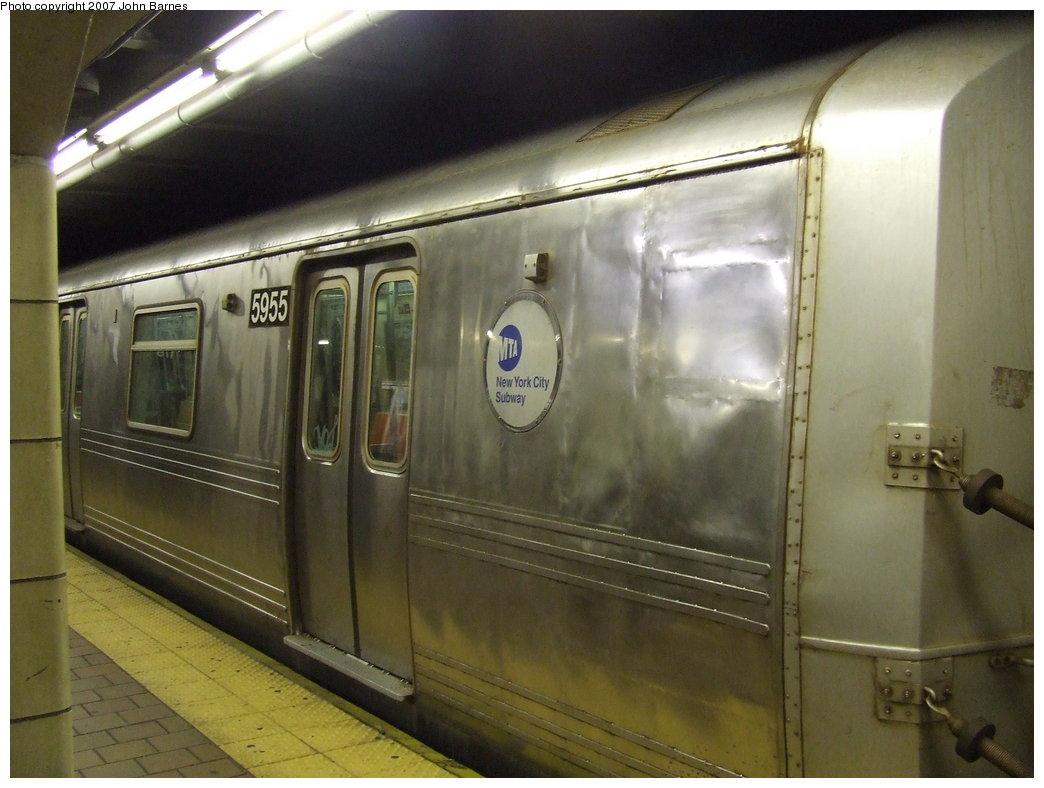 (150k, 1044x788)<br><b>Country:</b> United States<br><b>City:</b> New York<br><b>System:</b> New York City Transit<br><b>Line:</b> IND Queens Boulevard Line<br><b>Location:</b> 179th Street<br><b>Route:</b> F<br><b>Car:</b> R-46 (Pullman-Standard, 1974-75) 5955 <br><b>Photo by:</b> John Barnes<br><b>Date:</b> 8/31/2007<br><b>Notes:</b> Note carbody repair.<br><b>Viewed (this week/total):</b> 5 / 3623
