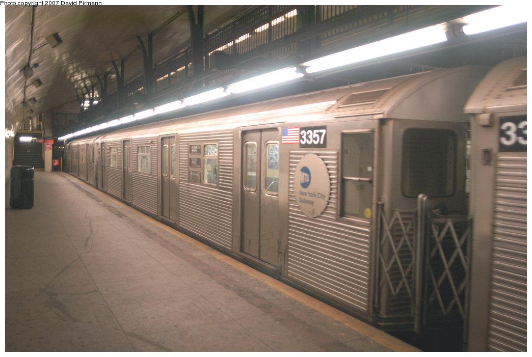 (181k, 1044x701)<br><b>Country:</b> United States<br><b>City:</b> New York<br><b>System:</b> New York City Transit<br><b>Line:</b> IND 8th Avenue Line<br><b>Location:</b> 181st Street<br><b>Route:</b> A<br><b>Car:</b> R-32 (Budd, 1964) 3357 <br><b>Photo by:</b> David Pirmann<br><b>Date:</b> 9/10/2007<br><b>Viewed (this week/total):</b> 0 / 2094