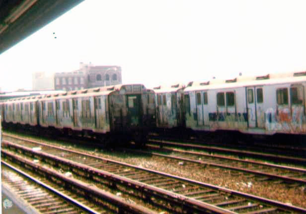 (76k, 616x432)<br><b>Country:</b> United States<br><b>City:</b> New York<br><b>System:</b> New York City Transit<br><b>Location:</b> Rockaway Park Yard<br><b>Car:</b> R-10 (American Car & Foundry, 1948)  <br><b>Photo by:</b> Bob Wright<br><b>Date:</b> 7/15/1978<br><b>Viewed (this week/total):</b> 0 / 3244
