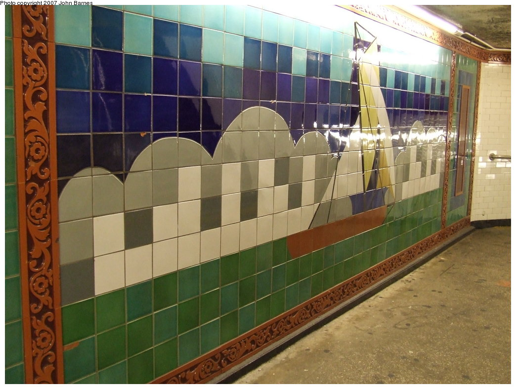 (179k, 1044x788)<br><b>Country:</b> United States<br><b>City:</b> New York<br><b>System:</b> New York City Transit<br><b>Line:</b> IRT West Side Line<br><b>Location:</b> South Ferry (Outer Loop Station)<br><b>Photo by:</b> John Barnes<br><b>Date:</b> 9/11/2007<br><b>Artwork:</b> <i>South Sails</i>, Sandra Bloodworth, 1990<br><b>Viewed (this week/total):</b> 3 / 2385