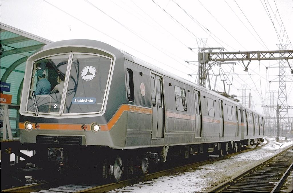 (204k, 1024x676)<br><b>Country:</b> United States<br><b>City:</b> Chicago, IL<br><b>System:</b> Chicago Transit Authority<br><b>Line:</b> CTA Yellow (Skokie)<br><b>Location:</b> Dempster<br><b>Car:</b> SOAC 2 <br><b>Photo by:</b> Arthur Peterson<br><b>Collection of:</b> Joe Testagrose<br><b>Date:</b> 1/19/1975<br><b>Viewed (this week/total):</b> 0 / 3398