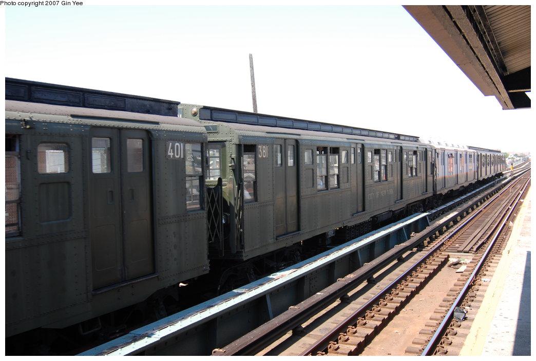(176k, 1044x705)<br><b>Country:</b> United States<br><b>City:</b> New York<br><b>System:</b> New York City Transit<br><b>Line:</b> BMT West End Line<br><b>Location:</b> 25th Avenue<br><b>Route:</b> Fan Trip<br><b>Car:</b> R-1 (American Car & Foundry, 1930-1931) 381 <br><b>Photo by:</b> Gin Yee<br><b>Date:</b> 8/12/2007<br><b>Viewed (this week/total):</b> 2 / 1904