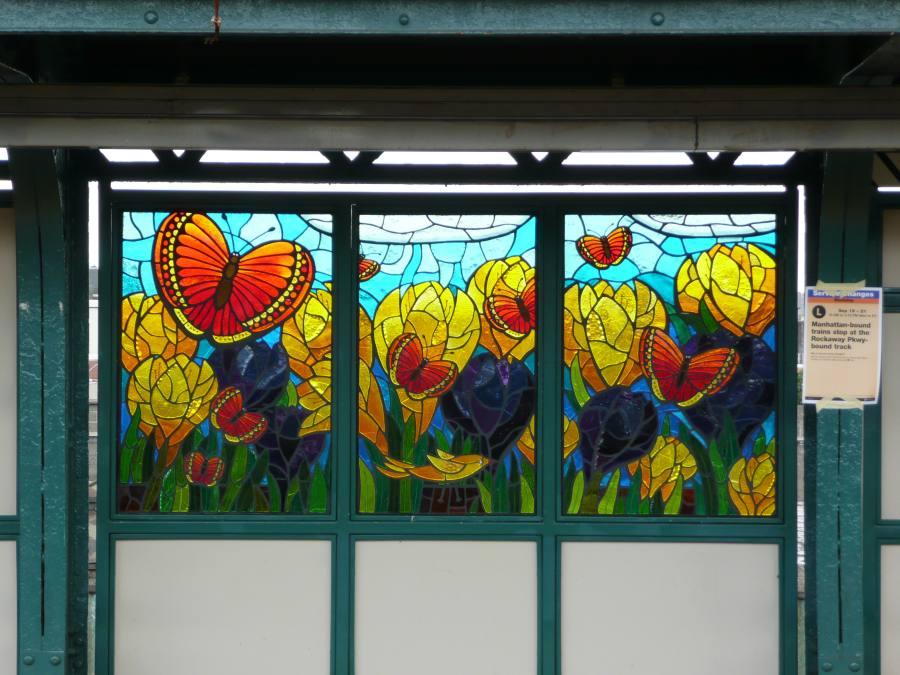 (117k, 900x675)<br><b>Country:</b> United States<br><b>City:</b> New York<br><b>System:</b> New York City Transit<br><b>Line:</b> BMT Canarsie Line<br><b>Location:</b> Sutter Avenue<br><b>Photo by:</b> Robbie Rosenfeld<br><b>Date:</b> 9/17/2007<br><b>Artwork:</b> <i>The Habitat for the Yellow Bird</i>, Takayo Noda, 2007<br><b>Viewed (this week/total):</b> 2 / 2273