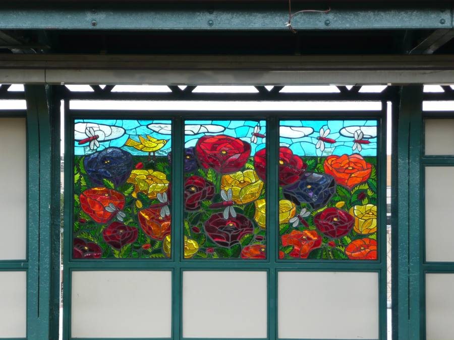 (112k, 900x675)<br><b>Country:</b> United States<br><b>City:</b> New York<br><b>System:</b> New York City Transit<br><b>Line:</b> BMT Canarsie Line<br><b>Location:</b> Sutter Avenue<br><b>Photo by:</b> Robbie Rosenfeld<br><b>Date:</b> 9/17/2007<br><b>Artwork:</b> <i>The Habitat for the Yellow Bird</i>, Takayo Noda, 2007<br><b>Viewed (this week/total):</b> 2 / 2288