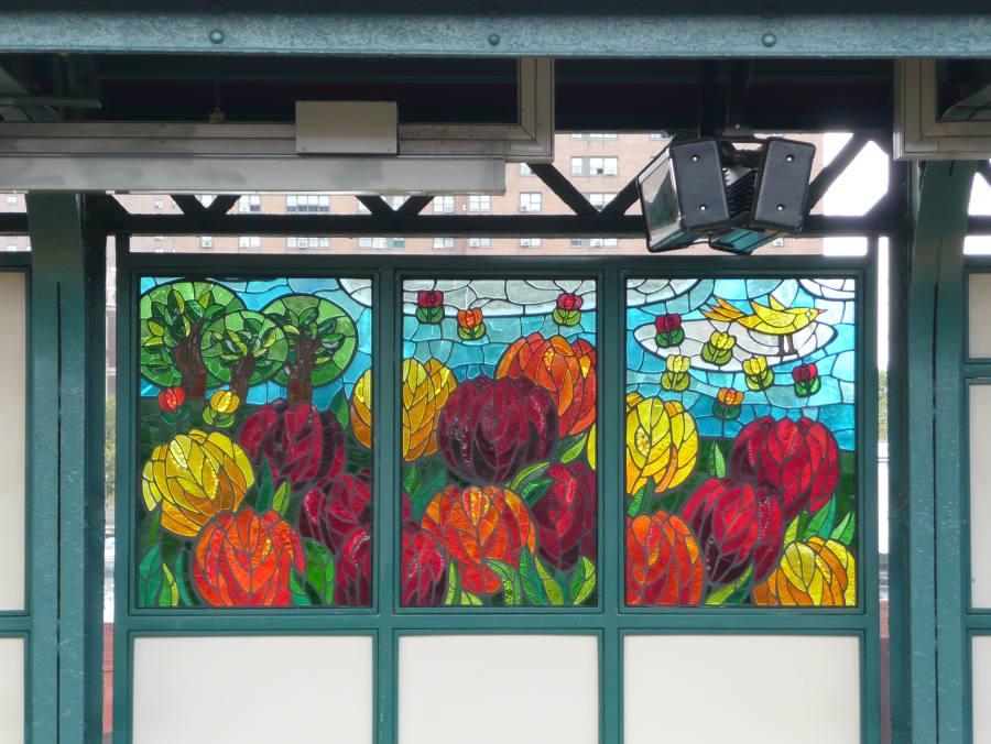 (122k, 900x676)<br><b>Country:</b> United States<br><b>City:</b> New York<br><b>System:</b> New York City Transit<br><b>Line:</b> BMT Canarsie Line<br><b>Location:</b> Sutter Avenue<br><b>Photo by:</b> Robbie Rosenfeld<br><b>Date:</b> 9/17/2007<br><b>Artwork:</b> <i>The Habitat for the Yellow Bird</i>, Takayo Noda, 2007<br><b>Viewed (this week/total):</b> 1 / 2094
