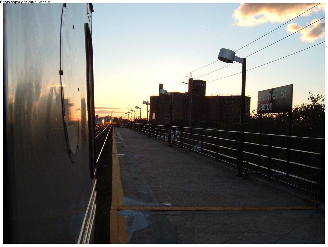 (125k, 1044x788)<br><b>Country:</b> United States<br><b>City:</b> New York<br><b>System:</b> New York City Transit<br><b>Line:</b> IND Rockaway Line<br><b>Location:</b> Beach 67th Street/Gaston Avenue<br><b>Route:</b> S<br><b>Car:</b> R-44 (St. Louis, 1971-73) 5322 <br><b>Photo by:</b> Chris M.<br><b>Date:</b> 9/15/2007<br><b>Viewed (this week/total):</b> 6 / 2817