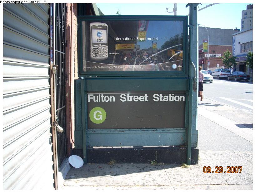 (147k, 819x619)<br><b>Country:</b> United States<br><b>City:</b> New York<br><b>System:</b> New York City Transit<br><b>Line:</b> IND Crosstown Line<br><b>Location:</b> Fulton Street<br><b>Photo by:</b> Bill E.<br><b>Date:</b> 9/29/2007<br><b>Notes:</b> Station entrance.<br><b>Viewed (this week/total):</b> 0 / 3443