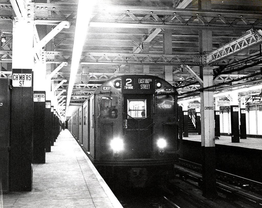 (294k, 1024x813)<br><b>Country:</b> United States<br><b>City:</b> New York<br><b>System:</b> New York City Transit<br><b>Line:</b> IRT West Side Line<br><b>Location:</b> Chambers Street<br><b>Route:</b> 2<br><b>Car:</b> R-21/R-22 Series (Number Unknown)  <br><b>Collection of:</b> George Conrad Collection<br><b>Date:</b> 11/2/1958<br><b>Viewed (this week/total):</b> 3 / 4486