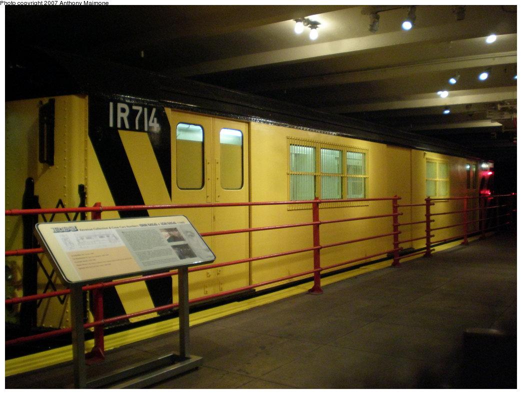 (164k, 1044x788)<br><b>Country:</b> United States<br><b>City:</b> New York<br><b>System:</b> New York City Transit<br><b>Location:</b> New York Transit Museum<br><b>Car:</b> R-95 Locker Car (Revenue Train) 1R714 (ex-7422)<br><b>Photo by:</b> Anthony Maimone<br><b>Date:</b> 10/6/2007<br><b>Notes:</b> Money train exhibit at NY Transit Museum.<br><b>Viewed (this week/total):</b> 5 / 4423