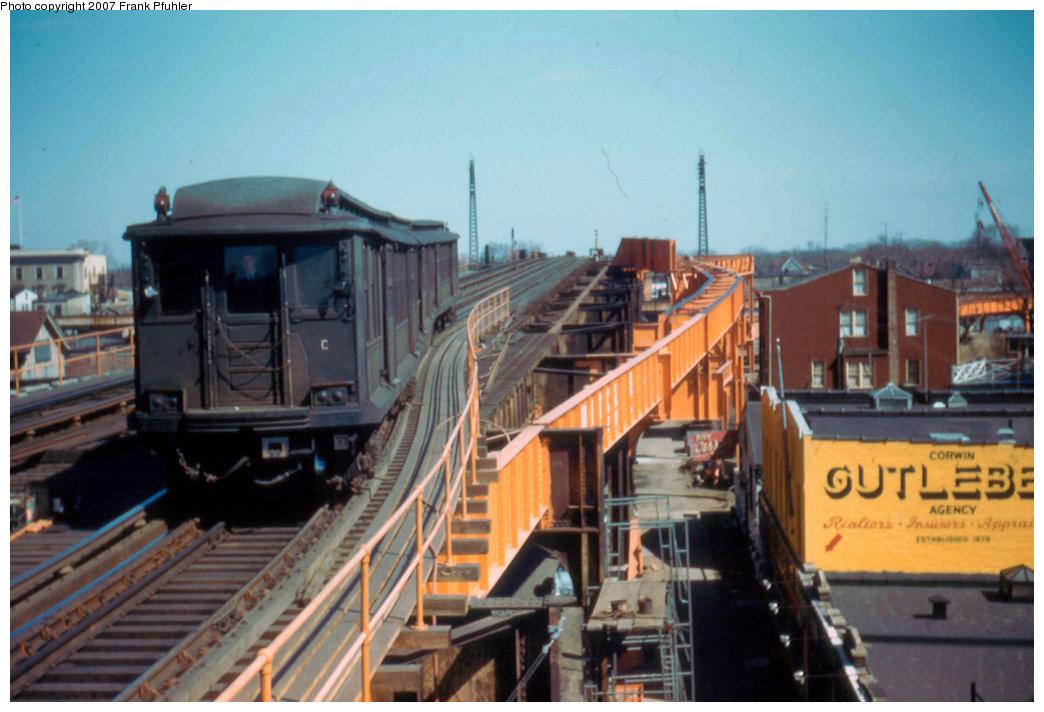 (200k, 1044x712)<br><b>Country:</b> United States<br><b>City:</b> New York<br><b>System:</b> New York City Transit<br><b>Line:</b> IND Fulton Street Line<br><b>Location:</b> Rockaway Boulevard<br><b>Car:</b> BMT C 1525 <br><b>Photo by:</b> Frank Pfuhler<br><b>Date:</b> 3/20/1955<br><b>Viewed (this week/total):</b> 0 / 4097