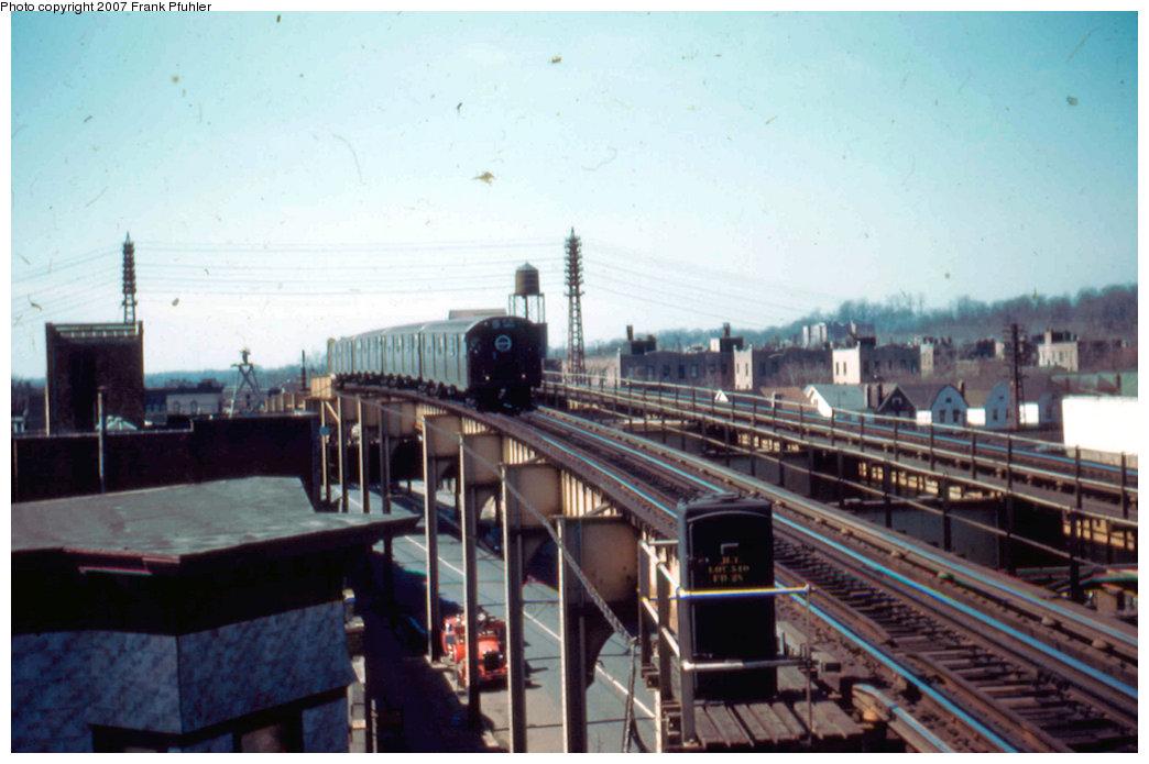 (182k, 1044x695)<br><b>Country:</b> United States<br><b>City:</b> New York<br><b>System:</b> New York City Transit<br><b>Line:</b> BMT Nassau Street-Jamaica Line<br><b>Location:</b> 102nd-104th Streets<br><b>Car:</b> R-16 (American Car & Foundry, 1955)  <br><b>Photo by:</b> Frank Pfuhler<br><b>Date:</b> 3/20/1955<br><b>Viewed (this week/total):</b> 0 / 4156
