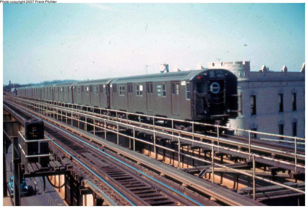 (207k, 1044x709)<br><b>Country:</b> United States<br><b>City:</b> New York<br><b>System:</b> New York City Transit<br><b>Line:</b> BMT Nassau Street-Jamaica Line<br><b>Location:</b> Queens Boulevard (Demolished)<br><b>Car:</b> R-16 (American Car & Foundry, 1955)  <br><b>Photo by:</b> Frank Pfuhler<br><b>Date:</b> 3/20/1955<br><b>Viewed (this week/total):</b> 1 / 5027