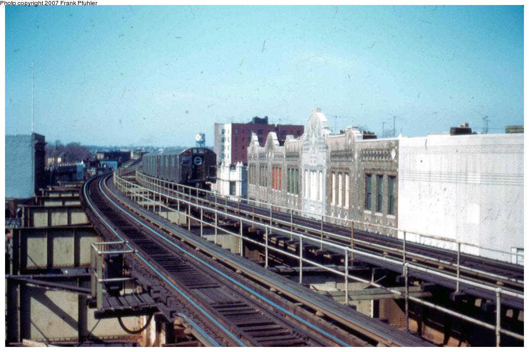 (194k, 1044x695)<br><b>Country:</b> United States<br><b>City:</b> New York<br><b>System:</b> New York City Transit<br><b>Line:</b> BMT Nassau Street-Jamaica Line<br><b>Location:</b> Sutphin Boulevard (Demolished)<br><b>Car:</b> R-16 (American Car & Foundry, 1955)  <br><b>Photo by:</b> Frank Pfuhler<br><b>Date:</b> 3/20/1955<br><b>Viewed (this week/total):</b> 1 / 4988