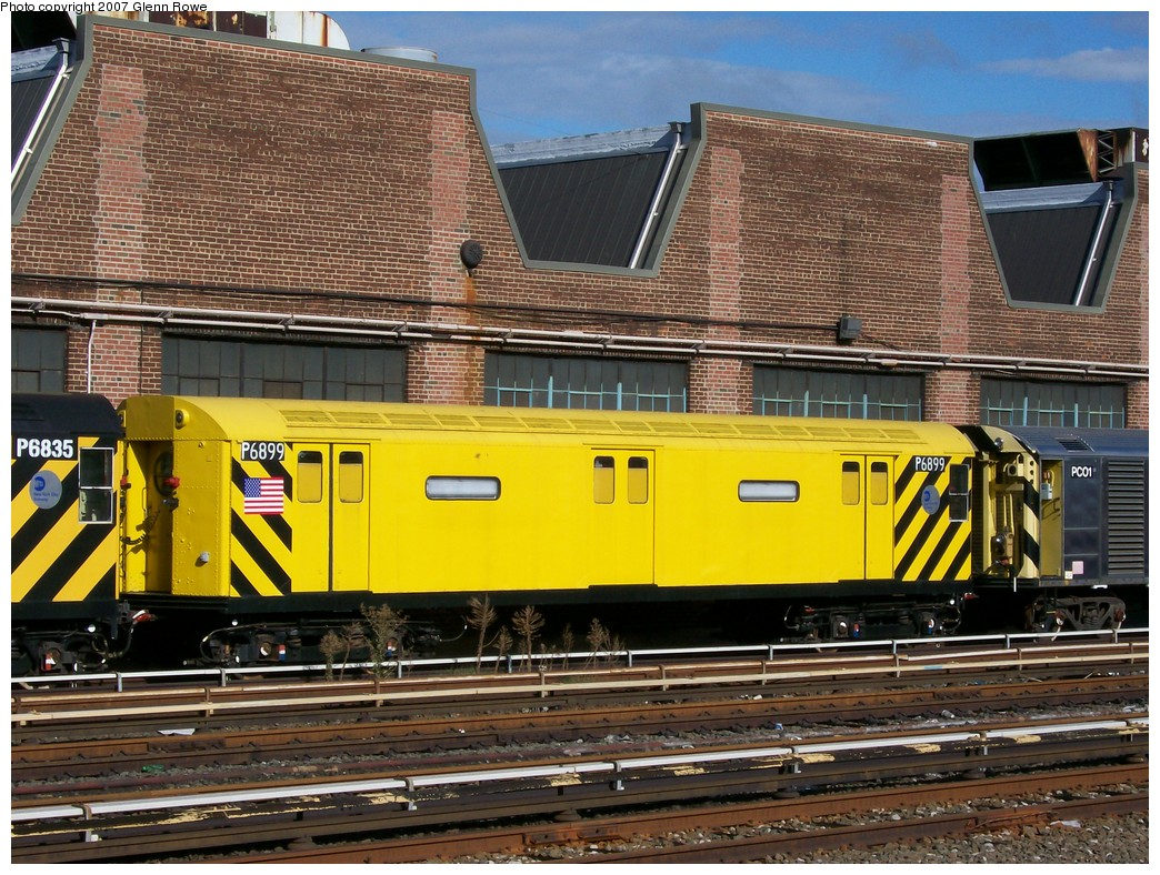 (288k, 1044x788)<br><b>Country:</b> United States<br><b>City:</b> New York<br><b>System:</b> New York City Transit<br><b>Location:</b> 207th Street Yard<br><b>Car:</b> R-71 Pump/Reach Car (R-17/R-21/R-22 Rebuilds) P6899 (ex-6899)<br><b>Photo by:</b> Glenn L. Rowe<br><b>Date:</b> 10/12/2007<br><b>Viewed (this week/total):</b> 5 / 3908