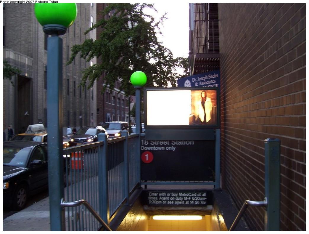 (201k, 1044x790)<br><b>Country:</b> United States<br><b>City:</b> New York<br><b>System:</b> New York City Transit<br><b>Line:</b> IRT West Side Line<br><b>Location:</b> 18th Street<br><b>Photo by:</b> Roberto C. Tobar<br><b>Date:</b> 10/13/2007<br><b>Notes:</b> Station entrance.<br><b>Viewed (this week/total):</b> 2 / 3819