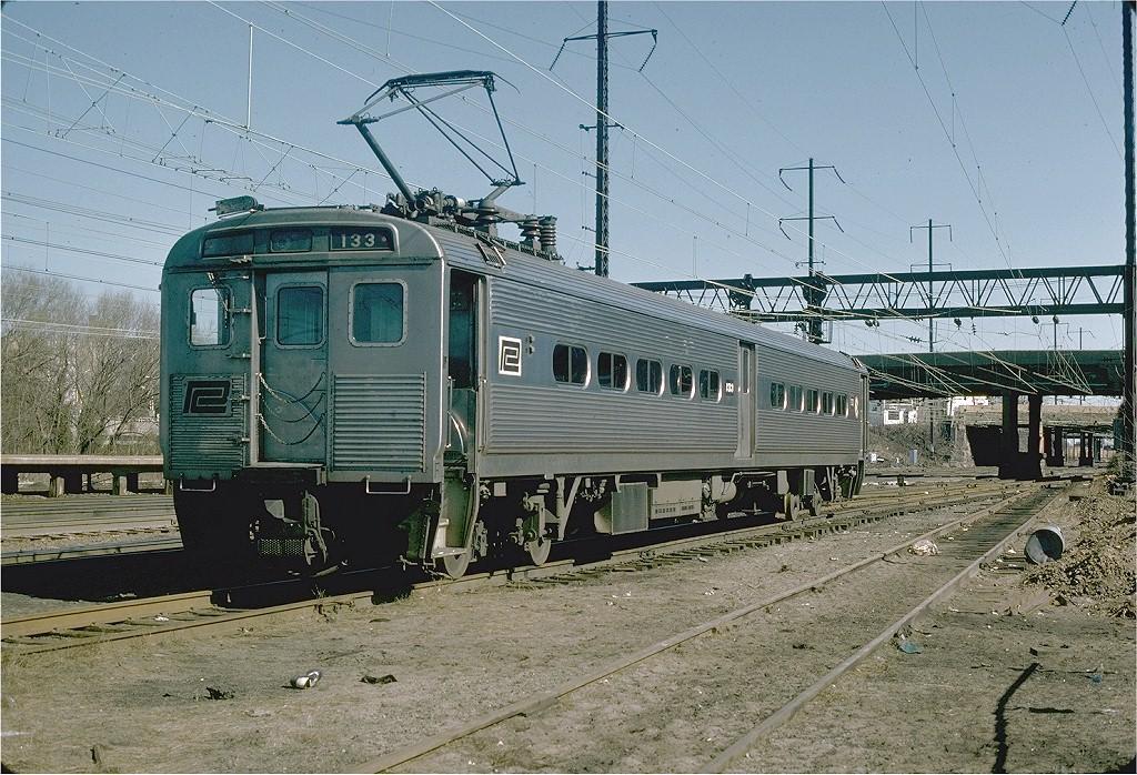 (276k, 1024x698)<br><b>Country:</b> United States<br><b>System:</b> Northeast Corridor (NJ) (Amtrak/NJTransit)<br><b>Line:</b> Northeast Corridor<br><b>Location:</b> Trenton<br><b>Car:</b> Penn Central (NJT) Arrow I (EMU) 133 <br><b>Photo by:</b> Willie Rosenberg<br><b>Collection of:</b> Joe Testagrose<br><b>Date:</b> 3/1976<br><b>Viewed (this week/total):</b> 2 / 3006