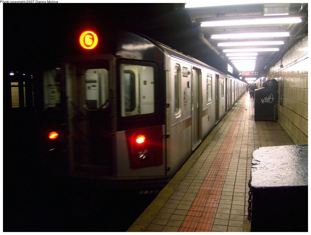 (260k, 1044x788)<br><b>Country:</b> United States<br><b>City:</b> New York<br><b>System:</b> New York City Transit<br><b>Line:</b> IRT East Side Line<br><b>Location:</b> 103rd Street<br><b>Route:</b> 6<br><b>Car:</b> R-142 or R-142A (Number Unknown)  <br><b>Photo by:</b> Danny Molina<br><b>Date:</b> 10/16/2007<br><b>Viewed (this week/total):</b> 1 / 3701