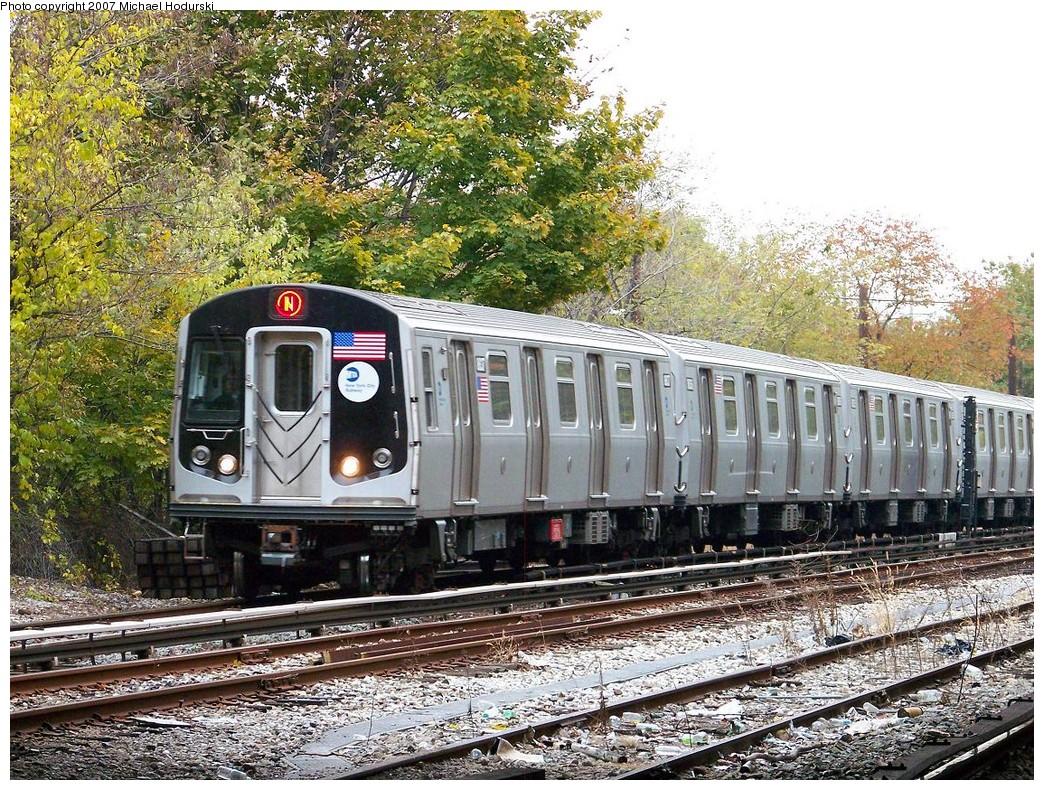 (381k, 1044x790)<br><b>Country:</b> United States<br><b>City:</b> New York<br><b>System:</b> New York City Transit<br><b>Line:</b> BMT Sea Beach Line<br><b>Location:</b> 8th Avenue<br><b>Route:</b> N<br><b>Car:</b> R-160B (Kawasaki, 2005-2008) 8837 <br><b>Photo by:</b> Michael Hodurski<br><b>Date:</b> 11/12/2007<br><b>Viewed (this week/total):</b> 0 / 2125