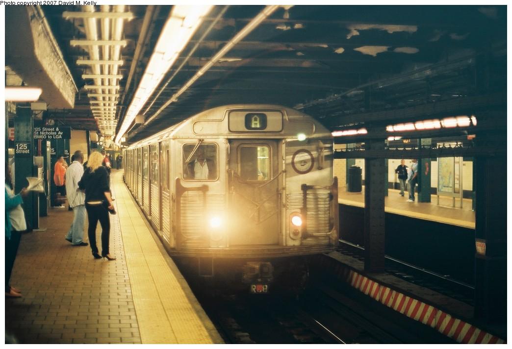 (171k, 1044x712)<br><b>Country:</b> United States<br><b>City:</b> New York<br><b>System:</b> New York City Transit<br><b>Line:</b> IND 8th Avenue Line<br><b>Location:</b> 125th Street<br><b>Route:</b> A<br><b>Car:</b> R-38 (St. Louis, 1966-1967)  <br><b>Photo by:</b> David M. Kelly<br><b>Date:</b> 2007<br><b>Viewed (this week/total):</b> 1 / 4349