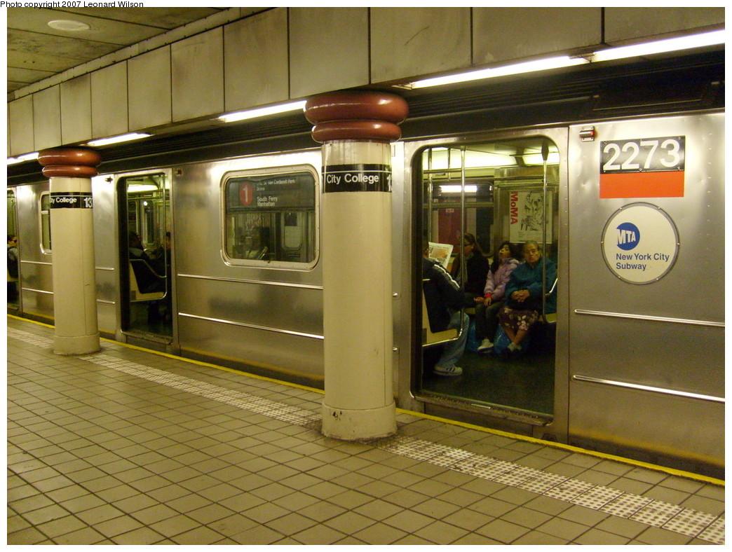 (273k, 1044x788)<br><b>Country:</b> United States<br><b>City:</b> New York<br><b>System:</b> New York City Transit<br><b>Line:</b> IRT West Side Line<br><b>Location:</b> 137th Street/City College<br><b>Route:</b> 1<br><b>Car:</b> R-62A (Bombardier, 1984-1987) 2273 <br><b>Photo by:</b> Leonard Wilson<br><b>Date:</b> 11/21/2007<br><b>Viewed (this week/total):</b> 3 / 4896