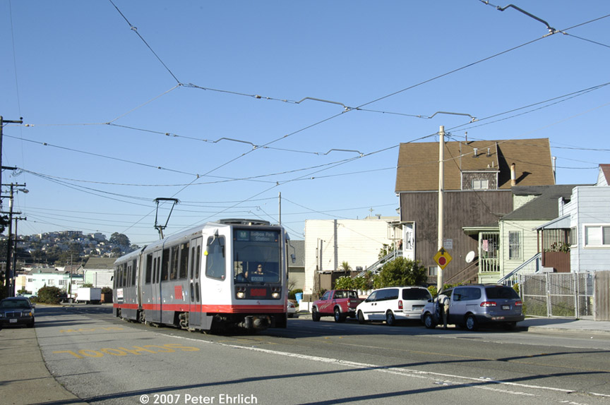 (164k, 864x574)<br><b>Country:</b> United States<br><b>City:</b> San Francisco/Bay Area, CA<br><b>System:</b> SF MUNI<br><b>Line:</b> MUNI Metro (K/M)<br><b>Location:</b> San Jose/Farallones<br><b>Car:</b> SF MUNI Breda LRV 1508 <br><b>Photo by:</b> Peter Ehrlich<br><b>Date:</b> 11/22/2007<br><b>Notes:</b> San Jose/Farallones inbound.<br><b>Viewed (this week/total):</b> 0 / 843