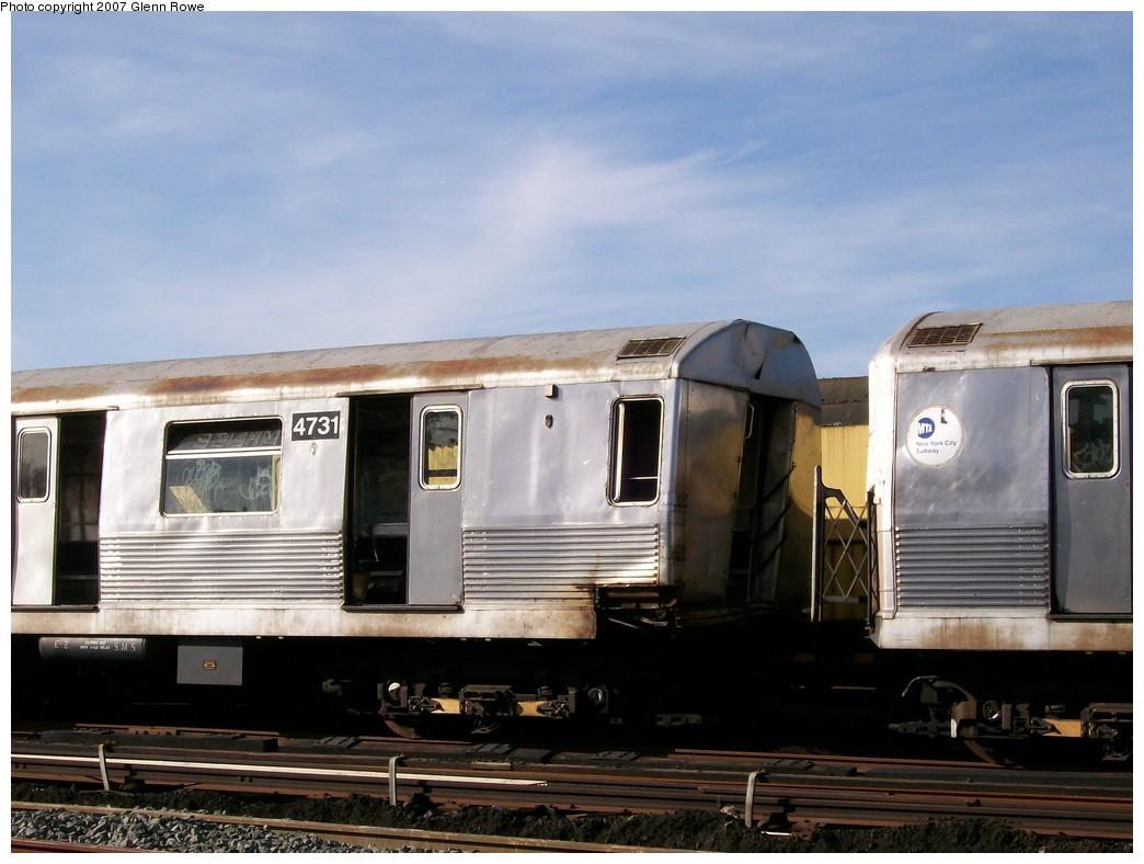 (173k, 1044x788)<br><b>Country:</b> United States<br><b>City:</b> New York<br><b>System:</b> New York City Transit<br><b>Location:</b> 207th Street Yard<br><b>Car:</b> R-42 (St. Louis, 1969-1970) 4731 <br><b>Photo by:</b> Glenn L. Rowe<br><b>Date:</b> 11/28/2007<br><b>Notes:</b> Cars involved in bumper block hit at Chambers Street, 11/6/2007.<br><b>Viewed (this week/total):</b> 5 / 8845