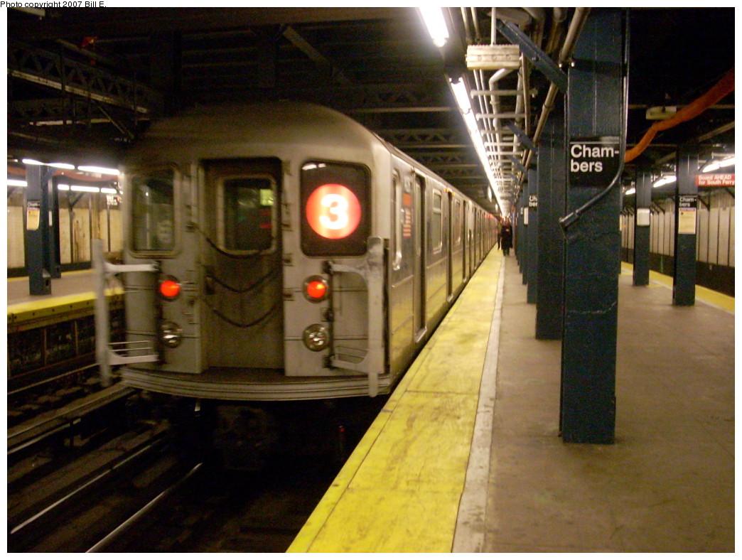 (253k, 1044x788)<br><b>Country:</b> United States<br><b>City:</b> New York<br><b>System:</b> New York City Transit<br><b>Line:</b> IRT West Side Line<br><b>Location:</b> Chambers Street<br><b>Route:</b> 3<br><b>Car:</b> R-62 (Kawasaki, 1983-1985) 1426 <br><b>Photo by:</b> Bill E.<br><b>Date:</b> 12/2/2007<br><b>Viewed (this week/total):</b> 2 / 3615