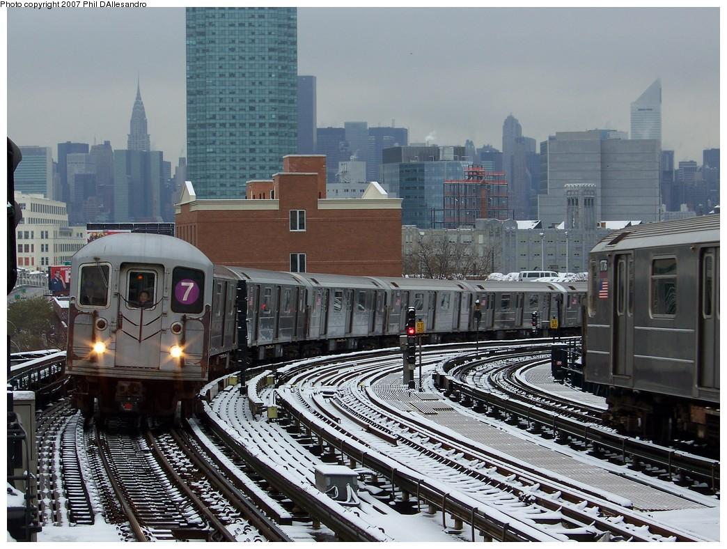 (274k, 1044x788)<br><b>Country:</b> United States<br><b>City:</b> New York<br><b>System:</b> New York City Transit<br><b>Line:</b> IRT Flushing Line<br><b>Location:</b> 33rd Street/Rawson Street<br><b>Route:</b> 7<br><b>Car:</b> R-62A (Bombardier, 1984-1987) 2008 <br><b>Photo by:</b> Philip D'Allesandro<br><b>Date:</b> 12/2/2007<br><b>Viewed (this week/total):</b> 1 / 2564