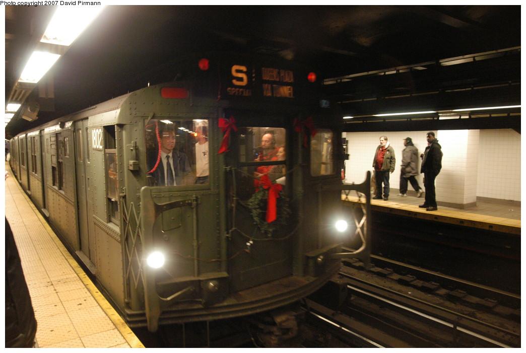 (226k, 1044x701)<br><b>Country:</b> United States<br><b>City:</b> New York<br><b>System:</b> New York City Transit<br><b>Line:</b> IND Queens Boulevard Line<br><b>Location:</b> Queens Plaza<br><b>Route:</b> Museum Train Service (V)<br><b>Car:</b> R-9 (Pressed Steel, 1940) 1802 <br><b>Photo by:</b> David Pirmann<br><b>Date:</b> 12/9/2007<br><b>Notes:</b> Train in regular Nostalgia Train service, not technically a fan trip.<br><b>Viewed (this week/total):</b> 0 / 2263
