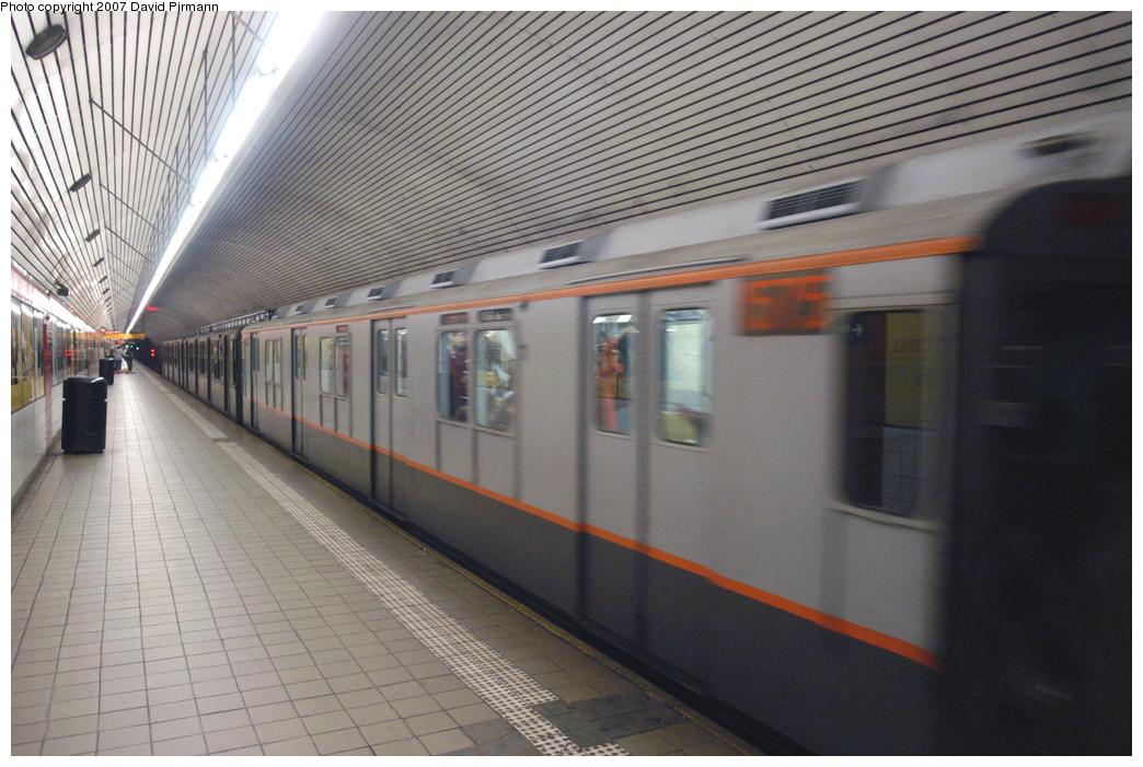 (274k, 1044x701)<br><b>Country:</b> United States<br><b>City:</b> New York<br><b>System:</b> New York City Transit<br><b>Line:</b> IND Queens Boulevard Line<br><b>Location:</b> 5th Avenue/53rd Street<br><b>Route:</b> Museum Train Service (V)<br><b>Car:</b> R-7A (Pullman, 1938) 1575 <br><b>Photo by:</b> David Pirmann<br><b>Date:</b> 12/9/2007<br><b>Notes:</b> Train in regular Nostalgia Train service, not technically a fan trip.<br><b>Viewed (this week/total):</b> 5 / 2650