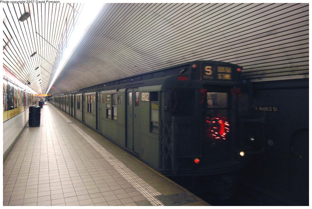 (307k, 1044x701)<br><b>Country:</b> United States<br><b>City:</b> New York<br><b>System:</b> New York City Transit<br><b>Line:</b> IND Queens Boulevard Line<br><b>Location:</b> 5th Avenue/53rd Street<br><b>Route:</b> Museum Train Service (V)<br><b>Car:</b> R-9 (Pressed Steel, 1940) 1802 <br><b>Photo by:</b> David Pirmann<br><b>Date:</b> 12/9/2007<br><b>Notes:</b> Train in regular Nostalgia Train service, not technically a fan trip.<br><b>Viewed (this week/total):</b> 3 / 2162