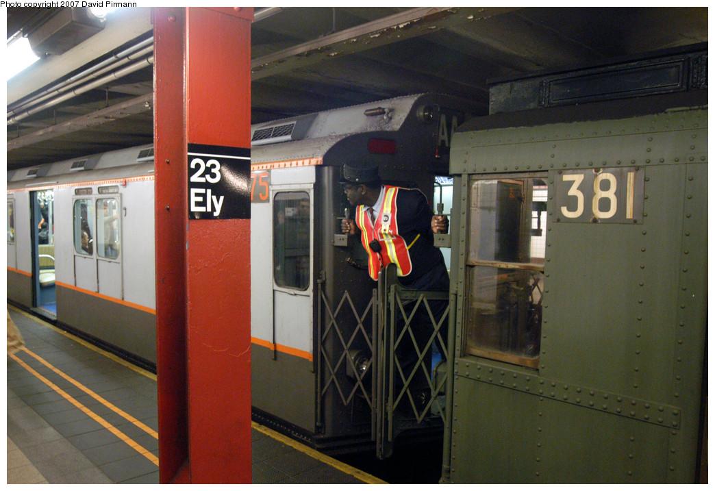 (279k, 1044x717)<br><b>Country:</b> United States<br><b>City:</b> New York<br><b>System:</b> New York City Transit<br><b>Line:</b> IND Queens Boulevard Line<br><b>Location:</b> Court Square/23rd St (Ely Avenue)<br><b>Route:</b> Museum Train Service (V)<br><b>Car:</b> R-7A (Pullman, 1938) 1575 <br><b>Photo by:</b> David Pirmann<br><b>Date:</b> 12/9/2007<br><b>Notes:</b> Train in regular Nostalgia Train service, not technically a fan trip.<br><b>Viewed (this week/total):</b> 0 / 2637