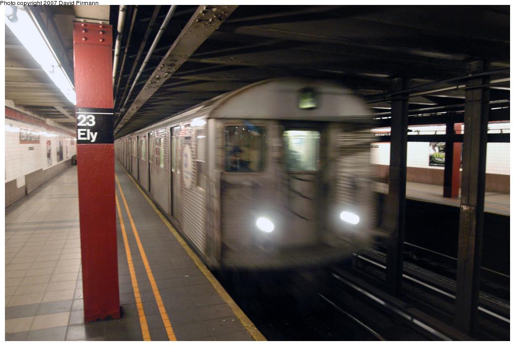 (240k, 1044x701)<br><b>Country:</b> United States<br><b>City:</b> New York<br><b>System:</b> New York City Transit<br><b>Line:</b> IND Queens Boulevard Line<br><b>Location:</b> Court Square/23rd St (Ely Avenue)<br><b>Route:</b> E<br><b>Car:</b> R-32 (Budd, 1964)  <br><b>Photo by:</b> David Pirmann<br><b>Date:</b> 12/9/2007<br><b>Viewed (this week/total):</b> 7 / 2846