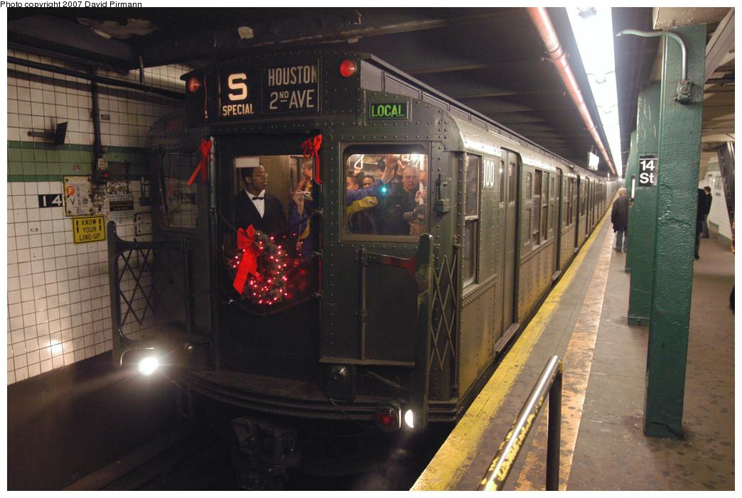 (283k, 1044x701)<br><b>Country:</b> United States<br><b>City:</b> New York<br><b>System:</b> New York City Transit<br><b>Line:</b> IND 6th Avenue Line<br><b>Location:</b> 14th Street<br><b>Route:</b> Museum Train Service (V)<br><b>Car:</b> R-1 (American Car & Foundry, 1930-1931) 100 <br><b>Photo by:</b> David Pirmann<br><b>Date:</b> 12/9/2007<br><b>Notes:</b> Train in regular Nostalgia Train service, not technically a fan trip.<br><b>Viewed (this week/total):</b> 2 / 2640