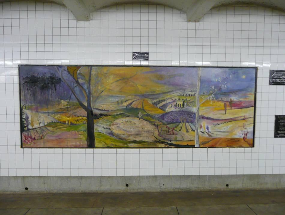 (99k, 950x716)<br><b>Country:</b> United States<br><b>City:</b> New York<br><b>System:</b> New York City Transit<br><b>Line:</b> IND Crosstown Line<br><b>Location:</b> Clinton/Washington Aves.<br><b>Photo by:</b> Robbie Rosenfeld<br><b>Date:</b> 11/27/2007<br><b>Artwork:</b> <i>Minor Landscape</i>, Josh Dorman<br><b>Viewed (this week/total):</b> 0 / 3186