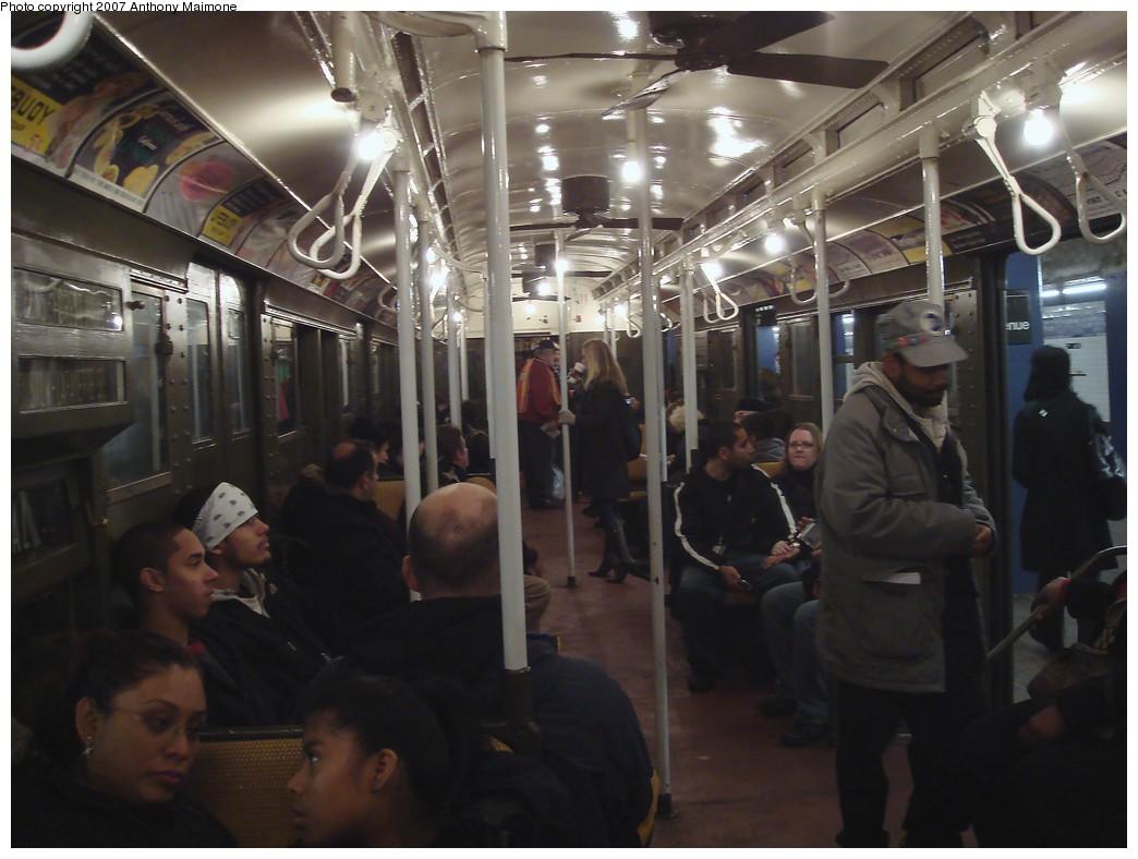 (174k, 1044x788)<br><b>Country:</b> United States<br><b>City:</b> New York<br><b>System:</b> New York City Transit<br><b>Route:</b> Museum Train Service (V)<br><b>Car:</b> R-1 (American Car & Foundry, 1930-1931) 100 <br><b>Photo by:</b> Anthony Maimone<br><b>Date:</b> 12/9/2007<br><b>Notes:</b> Train in regular Nostalgia Train service, not technically a fan trip.<br><b>Viewed (this week/total):</b> 0 / 2065