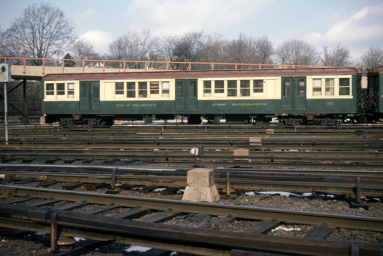 (586k, 1600x1067)<br><b>Country:</b> United States<br><b>City:</b> Philadelphia, PA<br><b>System:</b> SEPTA (or Predecessor)<br><b>Line:</b> Broad Street Subway<br><b>Location:</b> Fern Rock Yard/Shops<br><b>Car:</b> PTC/SEPTA B-1 Broad Street (J.G. Brill, 1927-1928) 75 <br><b>Photo by:</b> Ed Davis, Sr.<br><b>Collection of:</b> David Pirmann<br><b>Date:</b> 2/4/1979<br><b>Viewed (this week/total):</b> 0 / 2080