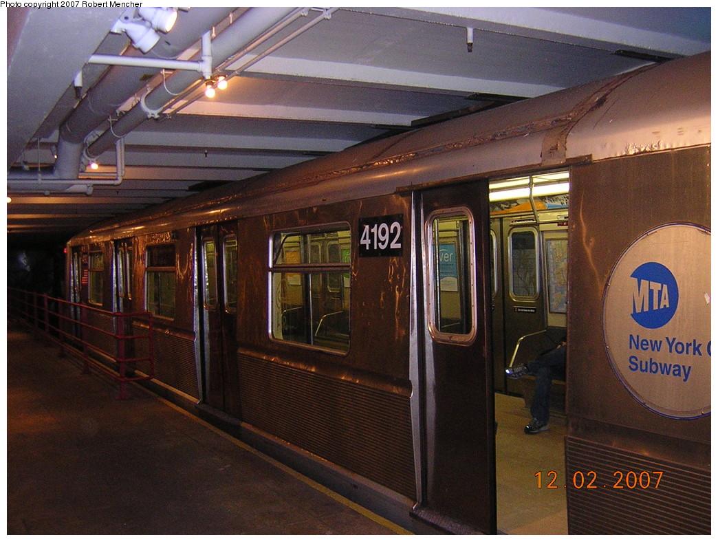 (285k, 1044x788)<br><b>Country:</b> United States<br><b>City:</b> New York<br><b>System:</b> New York City Transit<br><b>Location:</b> New York Transit Museum<br><b>Car:</b> R-40 (St. Louis, 1968) 4192 <br><b>Photo by:</b> Robert Mencher<br><b>Date:</b> 12/2/2007<br><b>Viewed (this week/total):</b> 1 / 4273