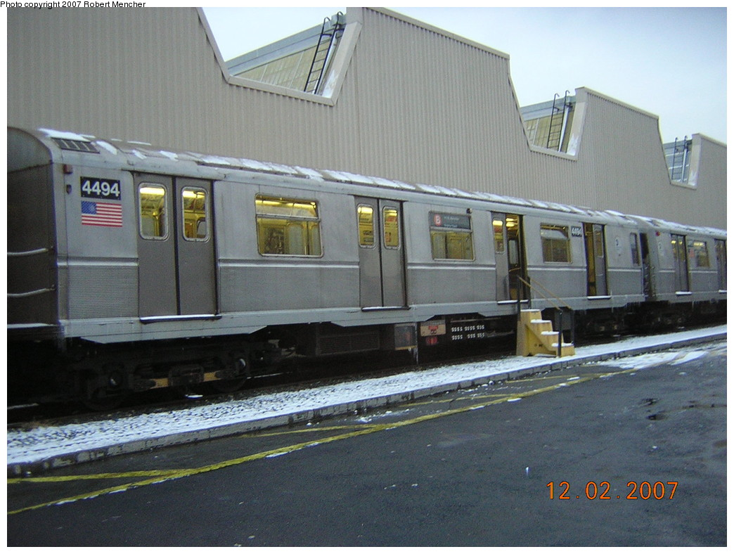 (250k, 1044x788)<br><b>Country:</b> United States<br><b>City:</b> New York<br><b>System:</b> New York City Transit<br><b>Location:</b> Coney Island Yard<br><b>Car:</b> R-40M (St. Louis, 1969) 4494 <br><b>Photo by:</b> Robert Mencher<br><b>Date:</b> 12/2/2007<br><b>Viewed (this week/total):</b> 2 / 2017